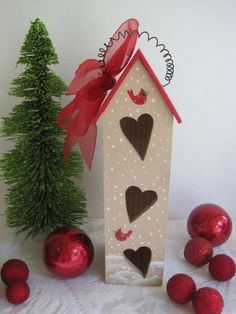 Christmas birdhouse on Etsy, $13.00