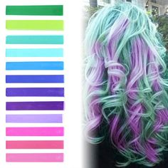 EXOTIC BLOSSOM | Pink, Purple, Turquoise, Mint and Green Pastel Ombre Hair Chalk temporary hair color set of 12