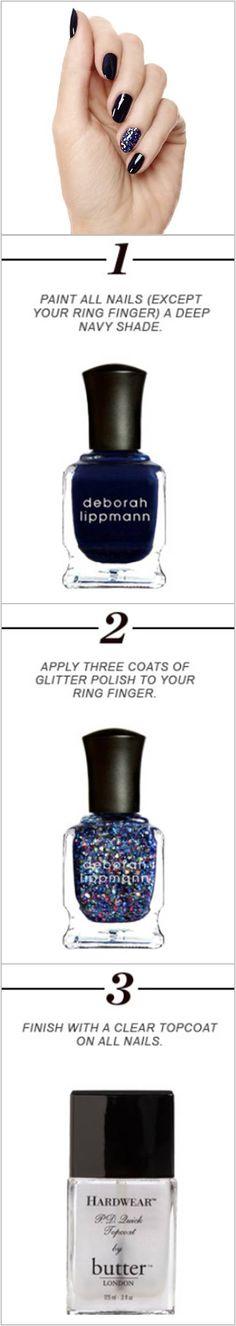 How To: Midnight Confetti Mani