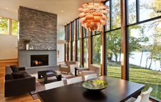 Living Room, Amazing Living Rooms With Sofa Bed Backyard Fire Pit Fireplace High Gloss Finish Pendant Lamp: The Spacious Living Room Perfect...