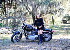 Maternity photo with motorcycle