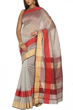 Silver Red & Zari Cotton Silk Maheshwari Saree