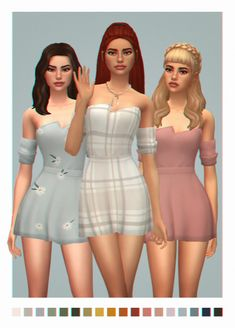 """raspbxxry: """" {olivia dress} i originally made this dress for myself but everyone seemed to like it so here you go:p """"b g c custom thumbnails comes in: 18 swatches from palette 35 patterns + Maxis, Sims 4 Mm Cc, Sims Four, Sims 4 Mods Clothes, Sims 4 Clothing, Pelo Sims, Sims 4 Dresses, Emo Dresses, The Sims 4 Packs"""