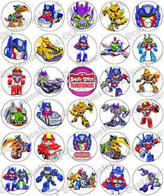 30 x angry #birds transformers party #edible rice #wafer paper cup cake toppers, View more on the LINK: http://www.zeppy.io/product/gb/2/251902361288/