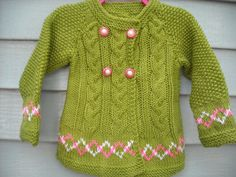 Hand Knitted Beautiful Double Breasted Jacket for a precious little girl, size 4T