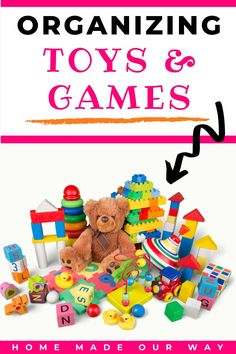 Learn how to declutter and organize various toys and games. Don't want to throw away expensive toys? Try our toy fatigue test that can save you money as well as keep your children entertained for months to come. Check out some of our recommendations for types of toys like stuffed animals and toy brands like Lego and Nerf. We also cover video consoles and those bulky game boards that can take up a lot of space and really shouldn't. #organization #declutter #toys #games #Lego #gameboards House Cleaning Tips, Cleaning Hacks, Cleaning Painted Walls, Book Organization, Wall Stickers Murals, Works With Alexa, Organizing Your Home, Declutter, Organize