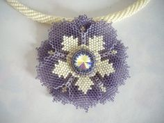 Suger plum purple and ivory flower necklace Seed от MisakoBeads