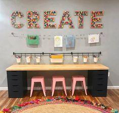 Playroom Design, Playroom Decor, Colorful Playroom, Small Playroom, Cheap Playroom Ideas, Playroom Color Scheme, Basement Craft Rooms, Living Room Playroom, Playroom Table