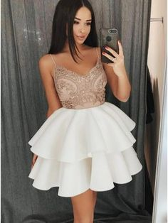 Outlet Colorful Appliques Homecoming Dress, Party Dress A-Line, Party Dress White Homecoming Dress A-Line, White Party Dress, Homecoming Dress With Appliques Homecoming Dresses 2018 White Homecoming Dresses, Hoco Dresses, Event Dresses, Sexy Dresses, Fashion Dresses, Formal Dresses, Party Dresses, Dress Party, Prom Dress