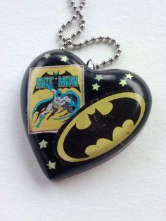 Batman Retro Fan Heart -Resin Pendant Necklace- Nerd/Geek Jewelry. $10.00, via Etsy.