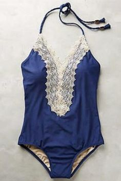 Gorgeous one piece swimsuit with lace trim on neckline. Open back and ties at neck. Please allow 10 to 14 days for processing and shipping. Swimwear Type One Piece Gender For Women Material Polyester