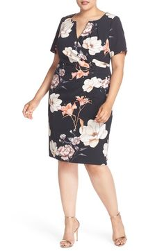 Adrianna Papell Side Pleat Floral Print Sheath Dress (Plus Size) available at #Nordstrom