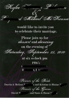 wedding invitation for our wedding