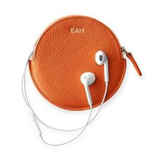 Mark & Graham Vivid Leather Earbud Case, Orange (€37) ❤ liked on Polyvore featuring accessories, tech accessories, orange and earphones earbuds