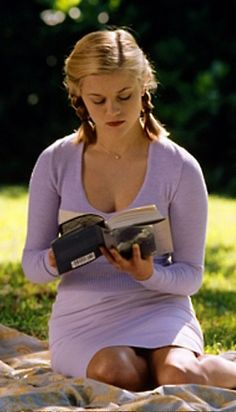 Reading a book in the park on a summer day.
