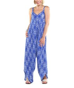 Another great find on #zulily! Blue Abstract Kuta Jumpsuit - Women by Joyous & Free #zulilyfinds