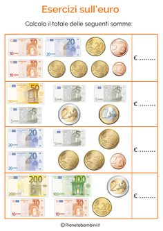 Teaching cards on the Euro for Children of the Primary School - Money Activities, Preschool Activities, Math For Kids, Fun Math, Social Service Jobs, Homework Sheet, Math Sheets, Education World, Math Groups