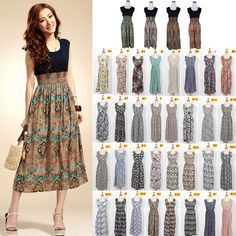 1e3730d1d63 New 2014 Spring Summer Fashion 36 Colors Vintage Patterns Tank Dress Floral Print  Bohemian Maxi Dress