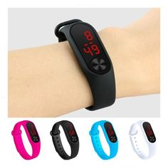 Four Colors Children'S Digital Watch Led Sport Watch Casual Silicone Kids Watches Wristwatch Bracelet - TrendStyleNow Sport Watches, Watches For Men, Children's Watches, Led, Sneakers For Sale, Kids Sports, Smartwatch, Guys And Girls, Green And Purple