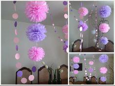 Pompones en color rosa y lila