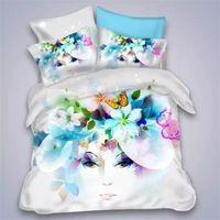 밝은 컬러 나비 꽃 소녀 침구 세트 고품질 코튼 섬유 침대 시트 베개 이불 커버 퀸 사이즈