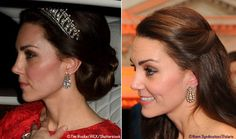 The Duchess accessorized with diamond drop earrings loaned to her by the Queen. They were previously seen at last year's Diplomatic Reception, as well as the Place2Be Awards in November 2016.