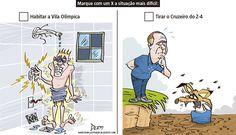 Charge do Dum (Zona do Agrião) sobre a chegada de Mano Menezes e as instalações da Vila Olímpica (27/07/2016). #Charge #Dum #Cruzeiro #ManoMenezes #Brasileirão #CampeonatoBrasileiro #Rio2016 #JogosOlímpicos #Olimpíadas #HojeEmDia