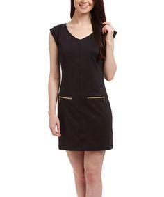 Loving this Pitch Black Crossover Ponte Shift Dress - Women on #zulily! #zulilyfinds
