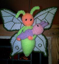 Vlinder Bree en Rups Calin gehaakt door Gina de G - haakpatroon van Zabbez