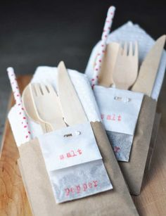 Napkin/utensils/straw, etc.  So cute!