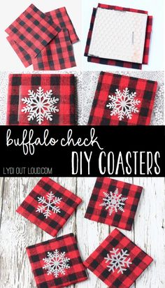 These cozy flannel DIY Buffalo Check Coasters with iron-on snowflakes make a perfect holiday gift or decoration for yourself!
