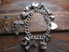 English Sterling Silver Charm Bracelet.