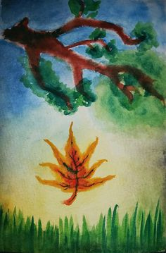 "Phoenix Leaf, 4""x6"" original watercolor, fall scene, small watercolor painting, www.radali.co"