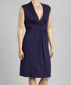 This Navy Surplice Dress - Plus by GLAM is perfect! #zulilyfinds