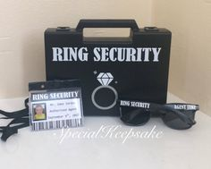 This Ring Security Black Box Briefcase Sunglasses Agent Badge Ring Bearer Page Boy Bridesmaid Usher Best Man Bride Groom Wedding Wooden Toy Gun is just one of the custom, handmade pieces you'll find in our decorations shops. Wedding Ring Box, Wedding Groom, Bride Groom, Gun Wedding, Wedding Ceremony, Dream Wedding, Ring Bearer Security, Ring Security Wedding, Ring Boy
