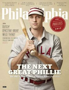 Hunter Pence on the cover of Philadelphia Magazine's April 2012 issue. I dig the throwback Phillies jersey. (Cover photo: Chris Crisman) #SportsMarketing