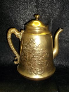 Vintage Brass Coffee Pot with Dragon Design - Brass Dragon Tea/Coffee Pot - Tea Pot - Coffee Pot - Brass Tea/Coffee Pot - Brass Dragon by LoveAndLegacies on Etsy https://www.etsy.com/listing/188316753/vintage-brass-coffee-pot-with-dragon
