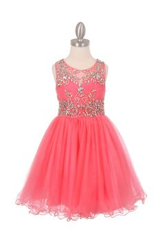 Coral Sleeveless Tulle Junior Bridesmaid Dress with Exquisite Beading Design
