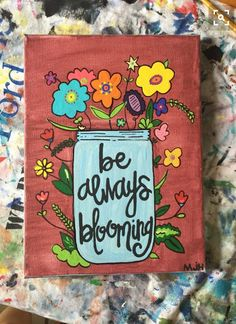 Mason Jar Canvas Painting by FindingSmiles on Etsy https:// Cute Canvas Paintings, Easy Canvas Painting, Diy Canvas Art, Canvas Crafts, Diy Painting, Canvas Ideas, College Canvas Paintings, Canvas Canvas, Kids Canvas