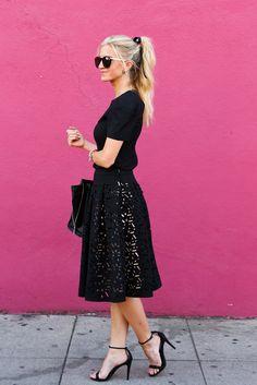 Black laser cut skirt.
