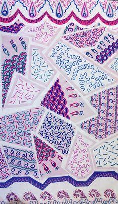 zandra rhodes prints Textiles, Textile Patterns, Textile Design, Fabric Design, Print Patterns, Pattern Design, Print Design, Zandra Rhodes, Indian Patterns