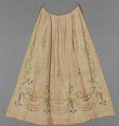 Embroidered Apron, 1820's. Silk thread on linen. Meg Andrews auctions.