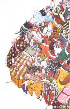 Carlls grote sterkte is de compositie van zijn tekeningen, waardoor hij een wereld suggereert die veel groter is dan het eigenlijke blad. Je ziet als het ware de wereld buiten het boek. Zijn tekeningen zijn nooit helemaal af en prikkelen op die manier de fantasie van de kinderen. In hun eigen verbeelding kunnen ze de tekeningen aanvullen.