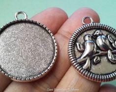 Antique Silver Blank Pendant Trays | 31mm Birdie Pendant Trays | Blank Pendant Tray Bezel | Glass Cabochon Setting