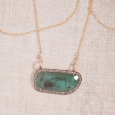 Lorelei Green Emerald and Diamond Layering Necklace Threesistersjewelry