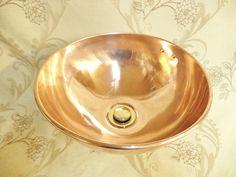 Wash Basin, Sink, Copper Home Accessories, Brass Tap, Copper And Brass, Copper Sink, Copper Sink Bathroom, Copper Bathroom, Vintage Bathrooms