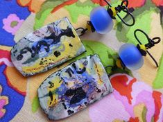 Blueberry Spritzer,  Organic Boho Ceramic Earrings, Abstract Expressionism, OOAK Artisan Made, JosephineBeads, taneres, Northernblooms