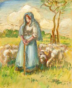 Camille Pissarro (1830-1903) The Shepherdess