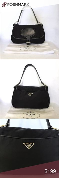 """Auth PRADA Tessuto Satchel & Dust Bag EXCELLENT 100% Authentic   Excellent Condition  Details - Zip closure on main compartment under flap.  - Flap closes via magnetic snap.  - Inner side pocket.  - Signature jacquard lining.  - Stamped silver hardware.  Height: 7""""Length: 11""""Depth: 4""""Strap Drop: 7"""" NO Rips, Tears, Stains, SnagsLeather on front & sides show some signs of use but NO damage or discoloration (see photos). IncludesPRADA Dust Bag   Surprise gifts come with every item…"""