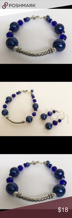 "Royal Blue & Silver Tone Beads Bracelet/Earrings Handmade beautiful 7.5"" - 8"" Bracelet with matching earrings made by me. Please check my listings for more handmade jewelry we're selling. We accept reasonable offers. Affordable Artsy Creations Jewelry Bracelets"